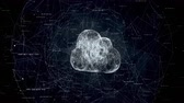 synchronization : cloud computing, tech animation of cloud symbol from the chaotically slow moving connected points rotates in sphere from connected line, cloud technology, cloud storage, seamless loop animation