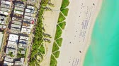 точка зрения : aerial birds eye view of surfer in tropical clear water miami beach