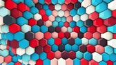 3d wavy hexagons pipes, slow motion abstract background Stok Video