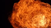 火の玉 : Fire ball explosion, high speed camera, isolated fire flame on black background.