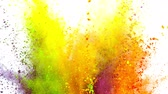 multicouleur : Colorful powder exploding on white background in super slow motion.
