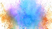 rozdrtit : Colorful powder exploding on white background in super slow motion.