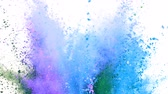 particules : Colorful powder exploding on white background in super slow motion.