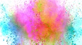 массивный : Colorful powder exploding on white background in super slow motion.