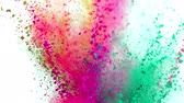 fajerwerki : Colorful powder exploding on white background in super slow motion.