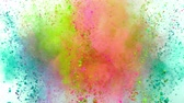 écraser : Colorful powder exploding on white background in super slow motion.