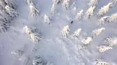 Aerial view of man walking with snowshoes on white snow in winter. Vídeos