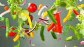 rode paprika : Super Slow Motion Shot of Flying Fresh Vegetables