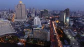 residência : aerial view of bangkok sky scraper over chaopraya river in beautiful dusky time Stock Footage