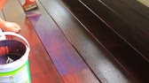 первый : hand painting oil color on wood floor use for home decorated ,house renovation and housing construction theme