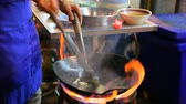 footage clips : cooking of street in yaowarat heart of bangkok thailand important destination to visiting