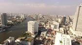 pomost : aerial view of bangkok skyscraper beside chaopraya river in heart of thailand capital