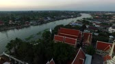 residência : aerial view over buddha temple in pakkred nonthaburi out skirt bangkok thailand