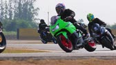 corner : group of man riding sport motorcycle on asphalt road Stock Footage
