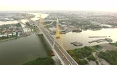 cais : aerial view of bhumipol1,2 bridge important transportation bridge crossing chaopraya river and construction landmark in heart of bangkok thailand capital Vídeos