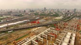 desenvolver : aerial view of mega project of sky trains and land transportation in heart of bangkok thailand