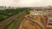 mega project contruction site of trains and sky train land transportation in bangkok thailand