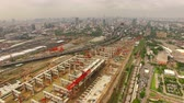 yönetme : aerial view of mega project sky trains and land transportation construction site in heart of capital Stok Video