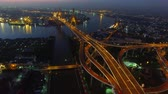 sky : aerial view of bhumibol bridge bangkok thailand Stock Footage
