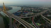 aerial view of bhumibol bridge bangkok thailand Vídeos