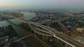 ship : aerial view of bhumibol bridge bangkok thailand Stock Footage