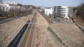 çift : Tokyo, Japan-February 24, 2018: (Time Lapse) Two railways in the suburb of Tokyo Stok Video