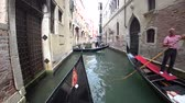 veslo : Venice, Italy-July 25, 2018: View of Venice from a gondola