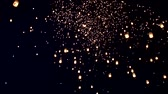 loi krathong : Chiang Mai, Thailand-November 14, 2016: (Time Lapse) (4 times speed) (60 fps) Floating lanterns or Khom Loy at Chiang Mai Loy Krathong Festival