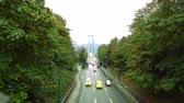 híd : Vancouver, Canada-September 9, 2018: Lions Gate Bridge or First Narrows Bridge in Vancouver viewed from Stanley Park