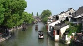 tekne : Xitang,China-September 13, 2019: Boats on a canal at Xitang, China