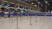 Bangkok,Thailand-January 25, 2020: Close-up of check-in counters of Suvarnabhumi Airport or New Bangkok International Airp Ort 무비클립