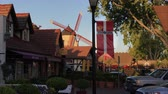 SOLVANG, CAUSA - April 14, 2017 - early evening shot of a small, Danish-style village near the central coast of California Stock Footage