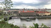 Prague Old City View and Riverboats View from Across the Vltava River.