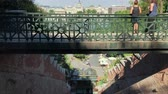 POV View from the Budapest Castle Hill Funicular on the Buda Side of the Danube River Stock Footage