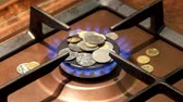 fűtés : Coins are on a burning gas burner. Gas reform puts people on their knees