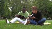 campus : Two young students reading books at the school park. summer, internet, education, campus and teenage concept - group of students. slow motion