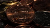 dimes : Many different coins collection. Close up Stock Footage