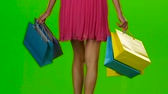 pack : Shopping bags. Sales period. Green screen. Slow motion