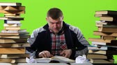 króm : Guy with the book begins very angry, and slowly calmed down. Green screen