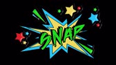 blasting : Comic strip speech bubble cartoon animation, with the message snap. Green text, yellow shape, alpha channel