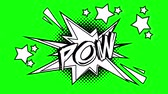 blasting : Comic animation of the word pow flies out of the bubble. Green screen