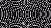 koncentrický : Two pulsating circles form concentric white rings moving on a black background