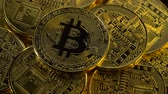 bitcoins : Beautiful bitcoins are spinning top view. Close up