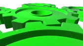 tornar : Green gears in horizontal position. White background. Alpha channel. Close up