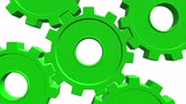 вечность : Five gears of green color 3d animation . White background. Alpha channel. Close up Стоковые видеозаписи