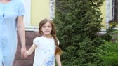vista aérea : Little girl is holding her mothers hand and walking along the street Stock Footage