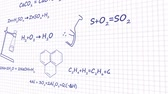 сложный : Chemistry formulas on white background graphic animation