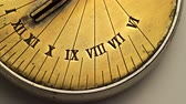 saat mekanizması : Dial of a sundial spinning on a white background. Close up Stok Video