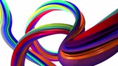 emaranhado : Abstract lines in the rainbow colors . White background Stock Footage