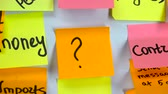 pochybovat : Sticker with question mark on the board with different sticker